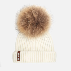 BKLYN Women's Merino Wool Hat with Natural Pom Pom - Off White
