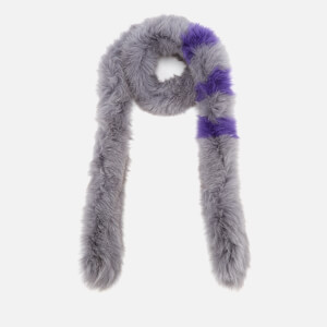 BKLYN Women's Fox Fur Scarf - Grey/Lavender Stripes
