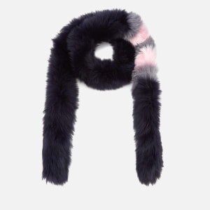 BKLYN Women's Fox Fur Scarf - Navy/Baby Pink Stripes
