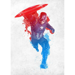 Marvel Comics Metal Poster - Civil War Red, White and Blue Captain America (68 x 48cm)