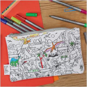 eatsleepdoodle Dinosaur Pillowcase with 10 Wash-Out Pens