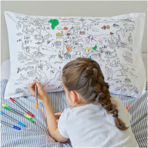 eatsleepdoodle World Map Pillowcase with 10 Wash-Out Pens