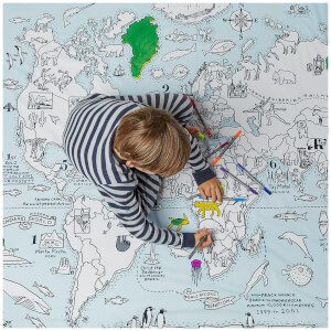 eatsleepdoodle World Map with 10 Wash-Out Pens