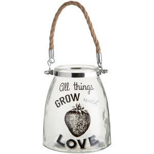 All Things Grow Glass Lantern - Rope Handle