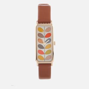 Orla Kiely Women's Stem Leather Watch - Brown