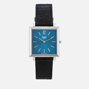 Henry London Men's Heritage Square Leather Watch - Navy