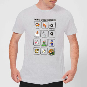 Nintendo Super Mario Know Your Enemies Men's T-Shirt - Grey