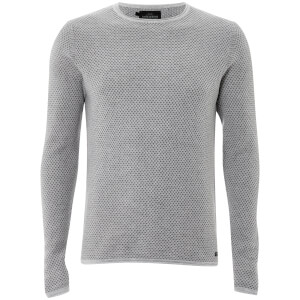 Threadbare Men's Barnes Textured Crew Neck Jumper - Ecru