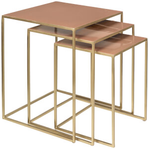 Broste Copenhagen Freja Set of Tables - Brass/Rose