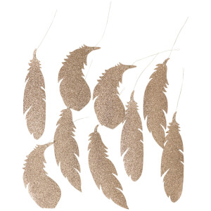 Broste Copenhagen Feather Christmas Decorations - Champagne (Set of 9)