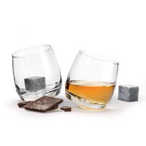 Sagaform Club Whiskey Gift Set - 2 Rocking Whiskey Glasses and 2 Drinkstones