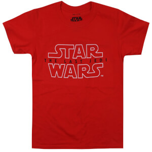 Star Wars Boys' The Last Jedi Rebel Text Logo T-Shirt - Red