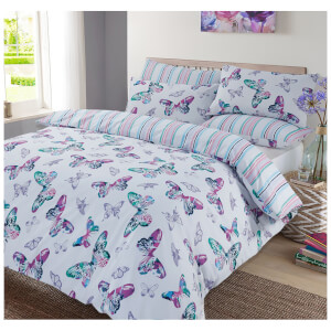 Dreamscene Watercolour Butterfly Duvet Set - Purple