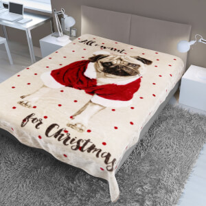 Dreamscene All I Want Pug Faux Fur Throw (150 x 200cm)