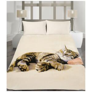 Dreamscene Cat Faux Fur Throw (150 x 200cm)