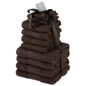 Highams 100% Cotton 12 Piece Towel Bale (500GSM) - Chocolate