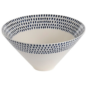 Nkuku Indigo Drop Serving Bowl - Cream and Indigo