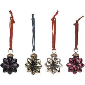 Nkuku Talu Star Baubles - Mixed Colours (Set of 4)