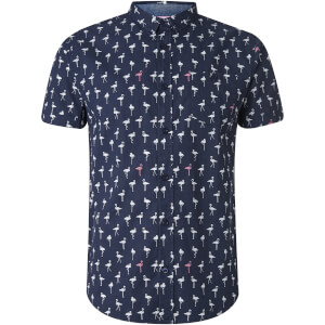 Brave Soul Men's Braun Bird Print Short Sleeve Shirt - Navy