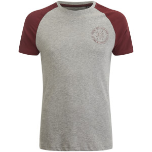 Brave Soul Men's Everest Raglan T-Shirt - Light Grey Marl/Ruby Wine