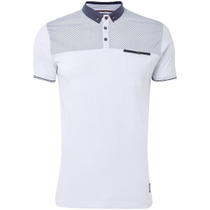 Brave Soul Men's Aqua Polo Shirt - White