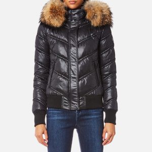 Froccella Women's Bomber with Natural Big Fur Collar Coat - Black/ Black Fur