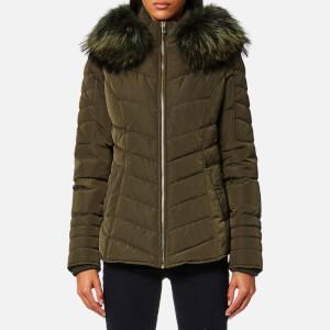 Froccella Women's Short Cheveron Big Fur Collar Coat - Khaki/ Khaki Fur