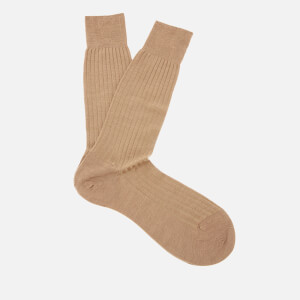 Pantherella Men's Labernum Merino Rib Socks - Dark Camel