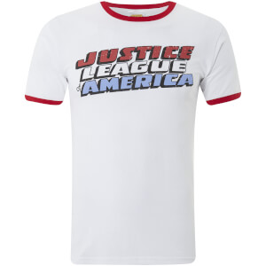 DC Comics Men's Justice League Logo Ringer T-Shirt - White