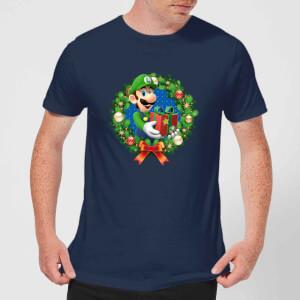 Nintendo Super Mario Luigi Christmas Present Wreath Navy T-Shirt