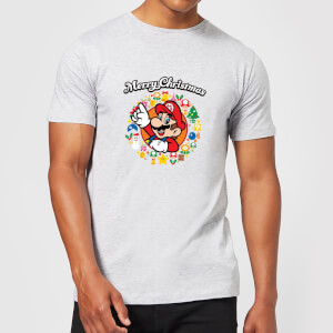 Nintendo® Super Mario Merry Christmas Wreath T-Shirt - Grau