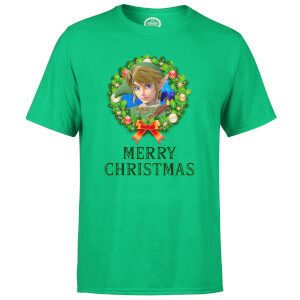 Nintendo Link Legend Of Zelda Merry Christmas Wreath Green T-Shirt