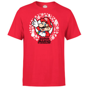 Nintendo Super Mario White Wreath Red T-Shirt