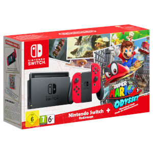 Nintendo Switch with Red Joy-Con Controllers + Super Mario Odyssey