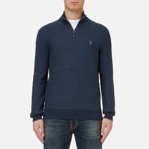 Polo Ralph Lauren Men's Texturized Quarter Zip Knitted Jumper - Winter Navy Heather