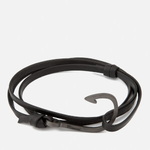 Miansai Men's Leather Bracelet with Black Hook - Black