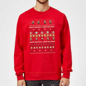 Pull de Noël Homme Nintendo Super Mario - Happy Holidays The Good Guys - Rouge