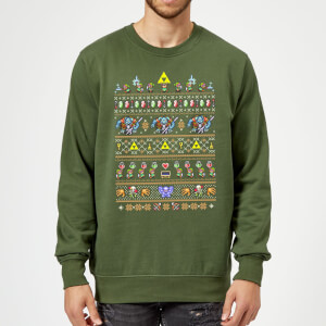 Felpa Nintendo The Legend Of Zelda Retro Green Christmas