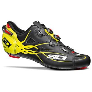 Sidi Shot Matt Road Shoes - Matt Black/Yellow Fluo