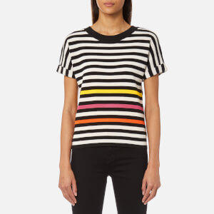 PS by Paul Smith Women's Stripe Short Sleeve Knit Top - Lemon Yellow