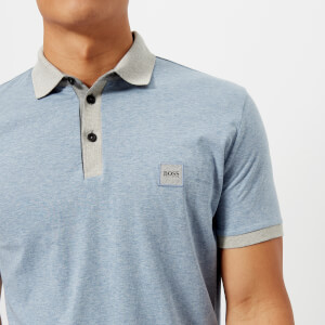 BOSS Orange Men's Pother Collar Detail Polo Shirt - Blue