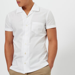 BOSS Orange Men's Esalsa Cuban Collar Short Sleeve Shirt - White