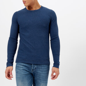 BOSS Orange Men's Tempest Crew Neck Knitted Jumper - Blue