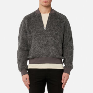 Our Legacy Men's Halfzip Varsity Jacket - Grey Fuzz