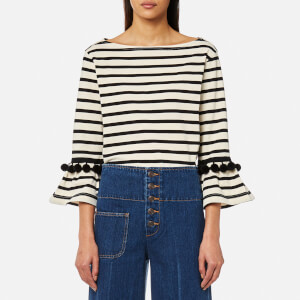 Marc Jacobs Women's Striped Top with Pom Poms - Ecru/Black