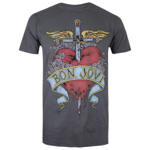 Bon Jovi Men's Heart Tattoo T-Shirt - Charcoal