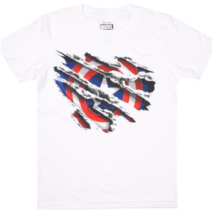 Marvel Men's Captain America Torn T-Shirt - White