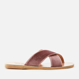 Ancient Greek Sandals Women's Thais Velvet Cross Over Slide Sandals - Aubergine