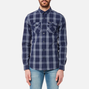Superdry Men's Washbasket Long Sleeve Shirt - Milton Navy Check