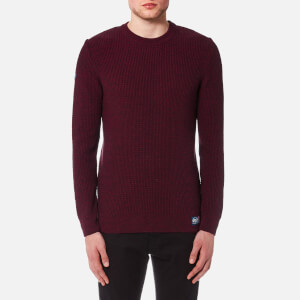 Superdry Men's University Waffle Crew Knitted Jumper - Red/Navy Grit